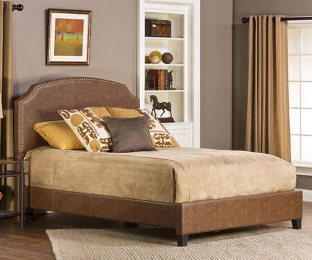 Hillsdale Furniture Durango 1055BR Panel Queen Bed Set with Rails Included, Nail Head Trim, Pine Wood Construction and Faux Leather Upholstery in Weathered Brown