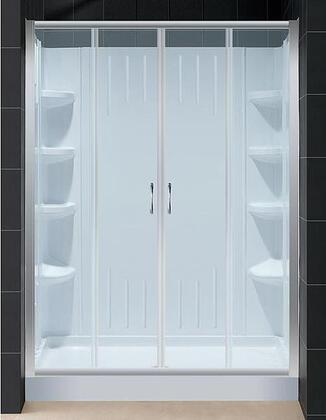 "DreamLine DL-6108 Visions Sliding Shower Door With Clear Glass 60"" x 72"", Backwall, Slip-Resistant Textured, Fiberglass Reinforcement &"