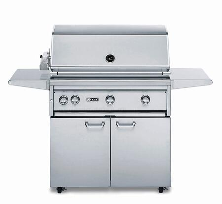 "Lynx L36PSFR-2 Professional Series 36"" Grill with Cart, 2 Brass Burner, 1 ProSear2 Burner and Rotisserie, 935 Sq. In. Cooking Surface and Heat Stabilizing Design, in Stainless Steel:"