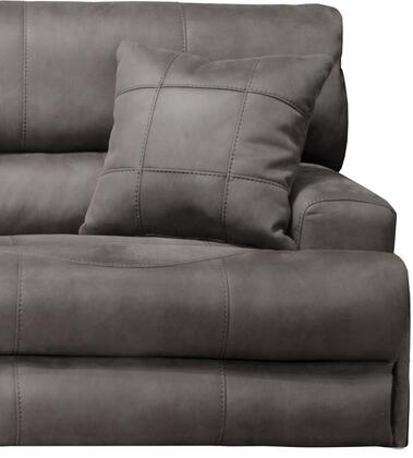 "Catnapper Monaco Collection 2180-7- 50"" Lay Flat Recliner with Suede Fabric Upholstery, Decorative Luggage Stitching and Toss Pillow in"