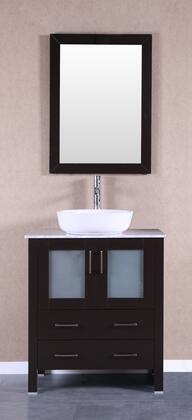 Bosconi Bosconi AB130BWLCMX Single Vanity with Soft Closing Doors , Drawers,Marble Top, Faucet, Mirror in Espresso and White Vessel Ceramic Sink