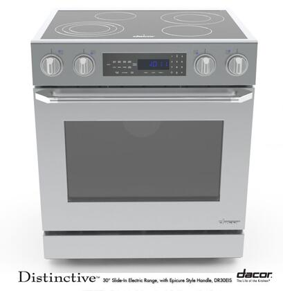"""Dacor DR30EIS 30"""" Distinctive Series Slide-in Electric Range with Smoothtop Cooktop, 4.8 cu. ft. Primary Oven Capacity, in Stainless Steel"""