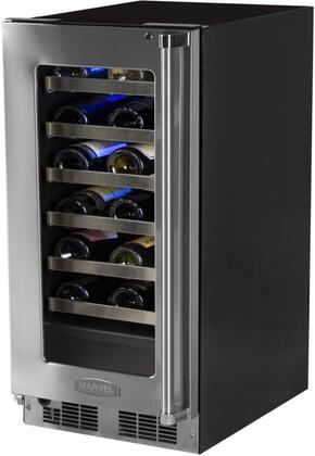 "Marvel MP15WS 15"" Professional Wine Cellar with 24 Bottles Capacity, Dynamic Cooling, Dual Pane Tinted UV-Resistant Glass Door, Door Lock, Soft-Close Integrated Hinge and Blue LED Lighting:"