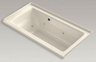 "Kohler K-1947-RW Archer 60"" x 30"" Alcove Whirlpool Bath Tub with Bask Heated Surface, Integral Flange and Right-Hand Drain in"