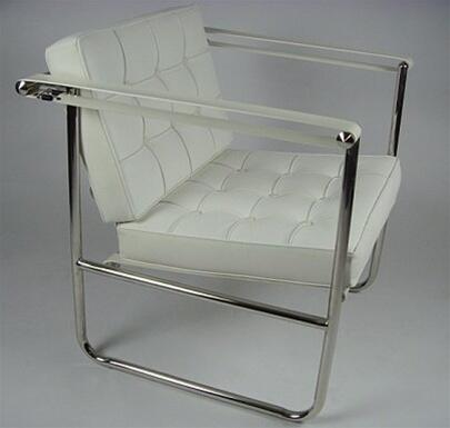 Fine Mod Imports FMI9247WHITE Celona Series Lounge Leather Stainless Steel Frame Accent Chair
