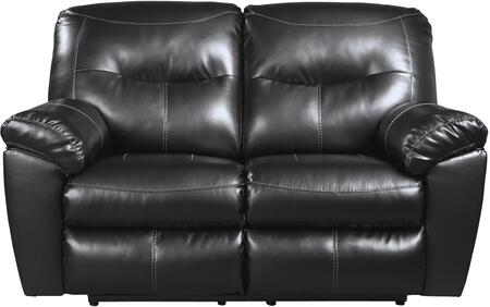 "Signature Design by Ashley 84706 Kilzer 63"" Reclining Loveseat with Jumbo Stitching, Metal Frame and DuraBlend Upholstery in"