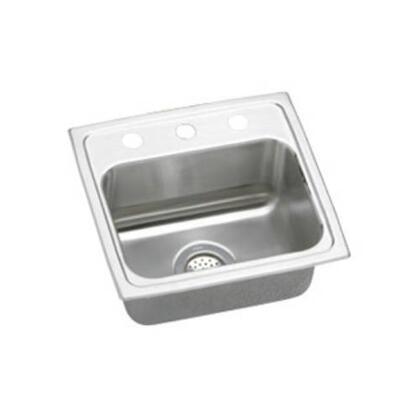 "Elkay LR17160 17"" Top Mount U-Channel Type Mounting System Single Bowl 18-Gauge Stainless Steel Sink"