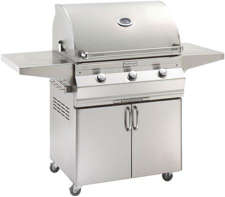 "FireMagic A660S5EAX61 Aurora 63"" Cart with 30"" Grill, E-Burners, Side Shelves, Analog Thermometer, and Up to 75000 BTUs Heat Output, in Stainless Steel"