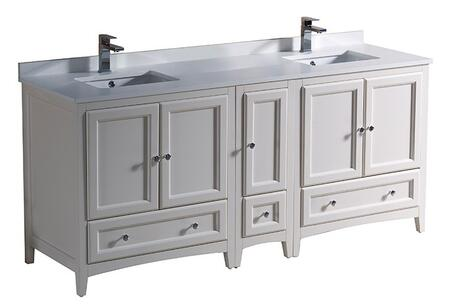"Fresca FCB20301230XXCWHU Oxford 72"" Traditional Double Sink Vanity"