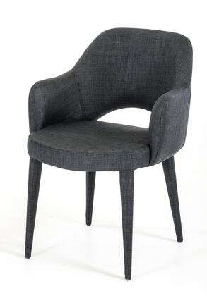 VIG Furniture VGEUMC8980CHAGRY Modrest Williamette Series Modern Fabric Metal Frame Dining Room Chair
