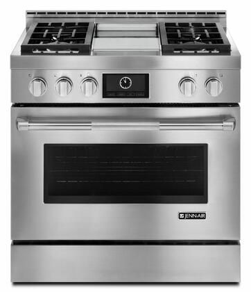Jenn-Air JDRP5TTWP Pro-Style Dual Fuel Range with Multimode Convection, X Sealed Burners, Closed-Door Broiling, 5,000 BTU Simmer Burner, and Cast Iron Grates, in Stainless Steel