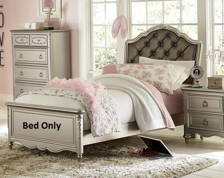 Samuel Lawrence Sterling Panel Bed with High/Low Rail Locking Positions, Screwed Back Panels, Selected Veneers and Hardwood Solids in Metallic Silver Color