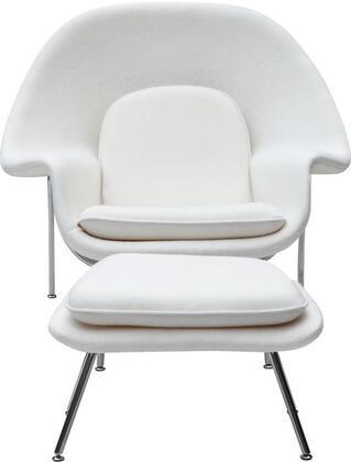 Fine Mod Imports FMI1134WHITE Woom Series Armchair Fabric: 100% Wool Fiber Glass Frame Accent Chair