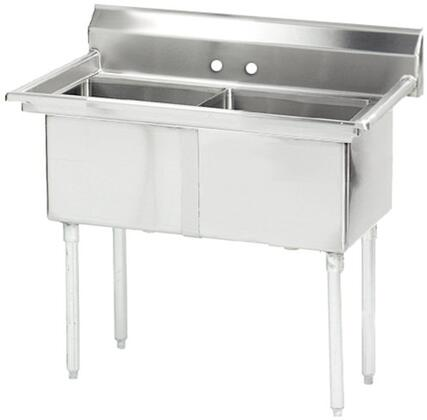 """Advance Tabco FE-2-2424 Lite Series Two-Compartment Fabricated Sink with 24"""" x 24"""" Bowl and Backsplash in Stainless Steel"""