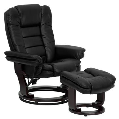 Flash Furniture BT-7818-XX-GG Contemporary Leather Recliner and Ottoman with Swiveling Mahogany Wood Base with Floor Glides and Ball-Bearing Swiveling Base