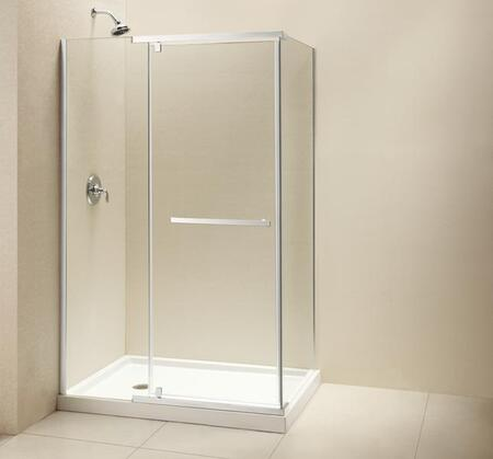 "DreamLine SHEN-11 Quatra  Frameless Clear 3/8"" Glass Pivot Shower Enclosure in"