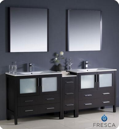 "Fresca Torino Collection FVN62-361236XX-UNS 84"" Modern Double Sink Bathroom Vanity with Side Cabinet, 2 Integrated Sinks and 7 Soft Closing Drawers in"