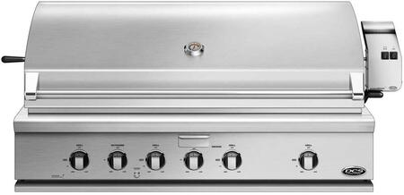 """DCS BH148RGI 48"""" Traditional Built-In Gas Grill with 4 Stainless Steel U Burners, 1 Smoker Tray, 1 Rotisserie, Griddle, and Drip Tray, in Stainless Steel"""