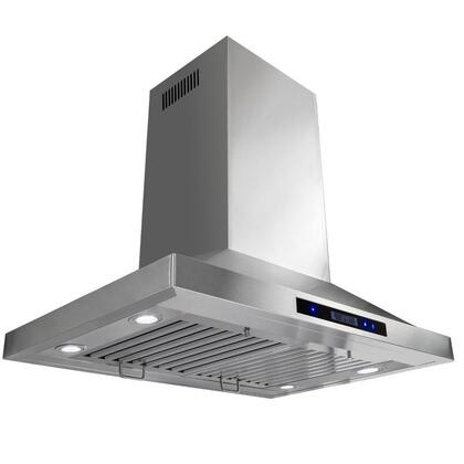 "Golden Vantage GIR0230 30"" Island Mount Range Hood with 870 CFM, 65 dB, Innovative Touch, LED Lighting, 3 Fan Speed, Stainless Steel Baffle Filter and X: Stainless Steel"
