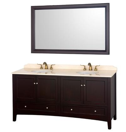 Wyndham Collection WCV000172ES Dual Vanity Set with White Porcelain Undermount Sinks, 3-Hole Faucet Mount, 4 Soft-Close Doors, 4 Drawers, Fully extending Drawer Slides & Matching Mirror in Espresso Finish