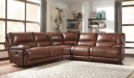 Signature Design by Ashley Kalel U74900SEC5PC Sectional Sofa with Left Arm Facing Zero Wall Recliner, Armless Recliner, Wedge, Armless Chair and Right Arm Facing Zero Wall Recliner in Saddle Color