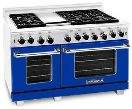 "American Range ARR4842GRLBU 48"" Heritage Classic Series Gas Freestanding Range with Sealed Burner Cooktop, 4.8 cu. ft. Primary Oven Capacity, in Sapphire Blue"