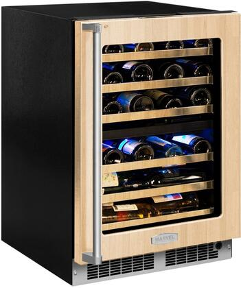 "Marvel MP24WDT 24"" Marvel Professional High-Efficiency Dual Zone Wine Refrigerator with Dynamic Cooling Technology, Vibration Neutralization System, 4.9 cu. ft. Capacity, Vacation Mode, and Door Lock, in"