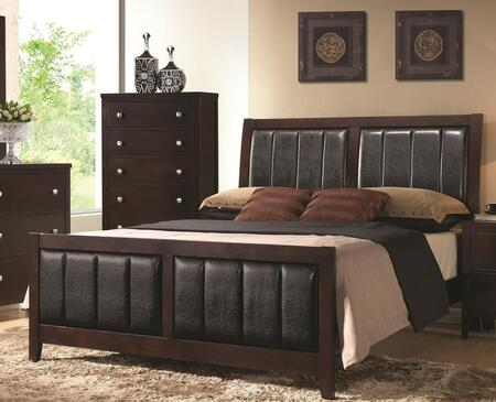 Coaster Carlton Panel Bed with Black Padded Leatherette, Tapered Legs, Solid Wood and Veneers Construction in Cappuccino Finish
