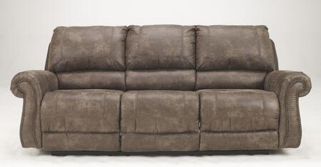 Signature Design by Ashley Oberson 741008X X Reclining Sofa with Metal Drop-In Unitized Seat Box, Rolled Arms and Bustle Back Design in Gun Smoke Color