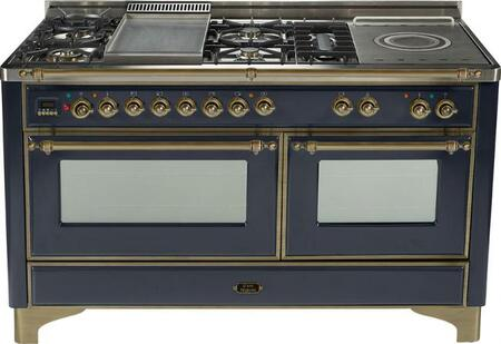 "Ilve UM150SMPMY 60"" Majestic Series Dual Fuel Freestanding"