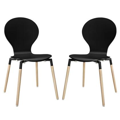Modway EEI-1368 Path Dining Chair Set of 2 with Modern Design, Fiberboard Frame, Solid Beech Wood Legs and Plastic Non-Marking Foot Caps