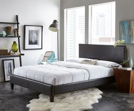Rest Rite HC88X4A2 Queen Size Faux Leather Upholstered Platform Bed with Contemporary Style and Tapered Legs in