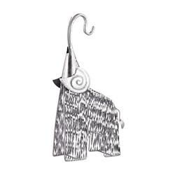 Sterling Wooly Mammoth with Clever Spiral-Flaunting Ears, Hand-Made and Metal Construction in