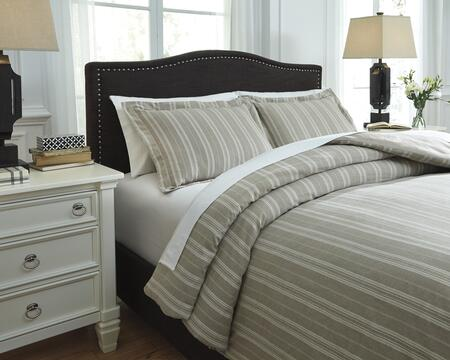 Milo Italia Vicente Collection C29113TMQ 3 PC Queen Size Duvet Cover Set includes 1 Duvet Cover and 2 Standard Shams with Striped Design, 200 Thread Count and Tarn-Dyed Cotton Material in Color