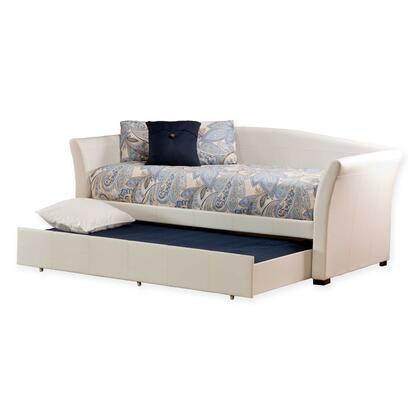 Hillsdale Furniture 1215DBT Montgomery Twin Size Daybed with Roll Out Trundle, Pine and Rattan Construction and Faux Leather Upholstery in