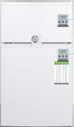 """AccuCold CP351WLLF2PLUSx 19"""" Top Freezer Refrigerator with 2.9 cu. ft. Capacity, Combination Lock, NIST Calibrated Thermometers, Door Storage, Interior Light and Door Storage, in White"""