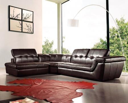 397 italian leather left arm sectional, chocolate 10