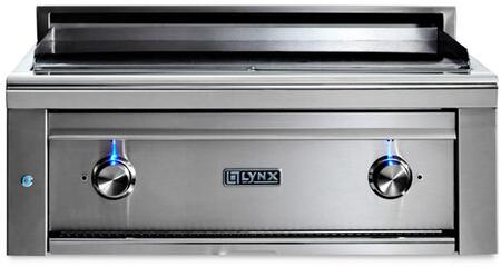 "Lynx L30AGx 30"" Professional Series Built-In Asado Grill with 2 ProSear2 Burners, 495 sq. in. Dual Zone Cooking Center, and Blue LED Controls, in Stainless Steel"