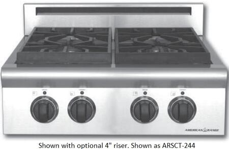 American Range ARSCT244ISN  Natural Gas Sealed Burner Style Cooktop, in Stainless Steel