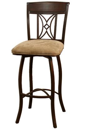 "American Heritage Arista Series 1XX798UM-C07 Traditional Stool With Uniweld Metal Construction, 3"" Basil Fabric Seat Cushion, Web Seating, and Adjustable Floor Glides in Umber Finish"