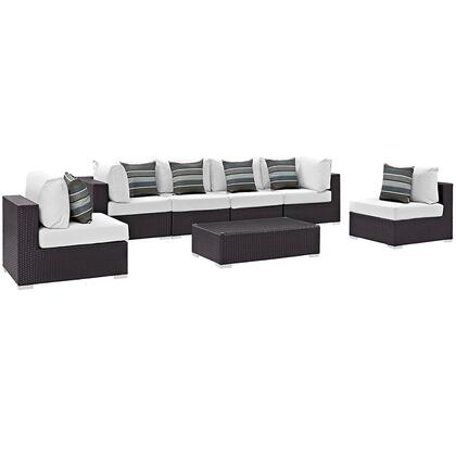 Modway Convene Collection EEI-2357- 7-Piece Outdoor Patio Sectional Set with 4 Armless Chairs, 2 Corner Sections and Coffee Table in Espresso and