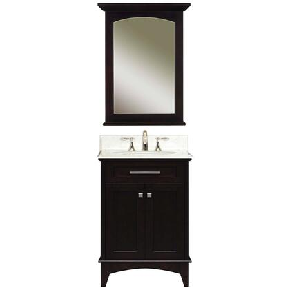 Water Creation MANHATTANB Single Sink Bathroom Vanity with 2 Story Shelf Inside Cabinet, Matching Mirror, White Marble Countertop and Brushed Nickel Door Hardware in Espresso