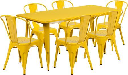 Flash Furniture ETCT005630YLGG Rectangular Shape Patio Sets