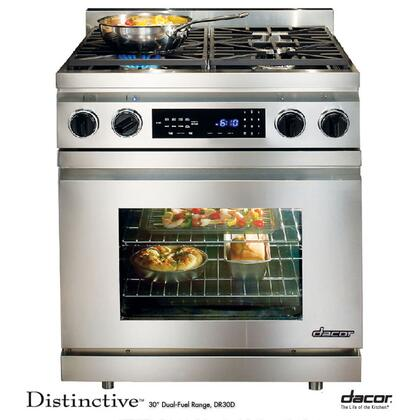 """Dacor Distinctive DR30DI 30"""" Slide-In Pro-Style Dual Fuel Range with 4 Sealed Burners, 3.9 cu. ft., Pure Convection, Self-Clean, Meat Probe and Touch Controls in Stainless Steel"""