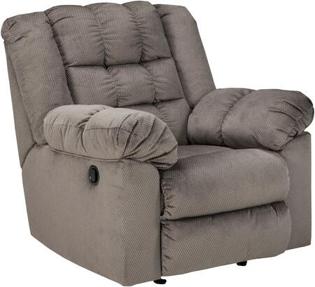 """Signature Design by Ashley Mort 2610X25 40"""" Fabric Rocker Recliner with Plush Padded Arms, Tufted Detailing and Metal Drop-In Unitized Seat Box in"""