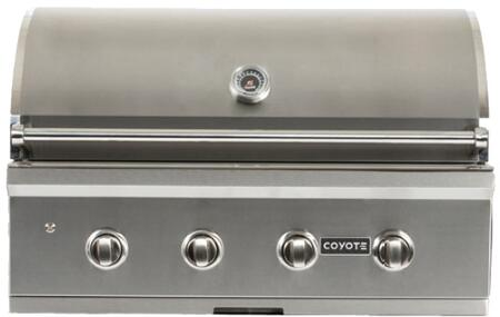 """Coyote C1C36XX 36"""" C-Series Built-In Grill with 4 I-Burners, Warming Rack, 875 sq. in. Cooking Surface, and Interior Lights, in Stainless Steel"""