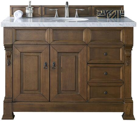 "James Martin Brookfield Collection 147-114-5276- 48"" Country Oak Single Vanity with Two Soft Closing Doors, Three Soft Closing Drawers, Backsplash, Hand Carved Filigrees and"