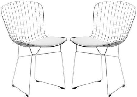 "EdgeMod Morph Collection 21"" Set of 2 Side Chairs with Plastic Non-Marking Feet, Solid Chrome Steel Frame, Velcro Strips and Leatherette Seat Pad in"