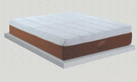 "Glory Furniture Electra Collection 15"" Mattress with 2.5"" Gel Top, Visco Memory Foam Mattress and Washable Cover in White and Brown Color"