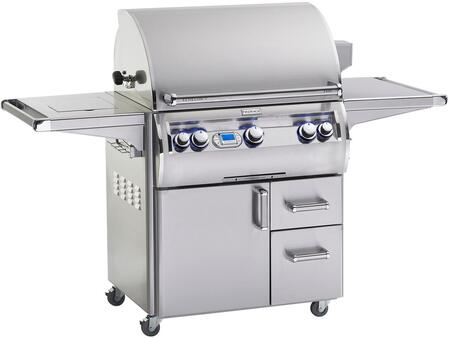 FireMagic E660S4LAX62 Echelon Diamond Series Freestanding Gas Grill with 660 sq. in. Cooking Area, 2 Burners and Left Infrared Searing Burner, Double Wall Seamless 304 Stainless Steel Hood, Analog Thermometer, Side Burner, in Stainless Steel